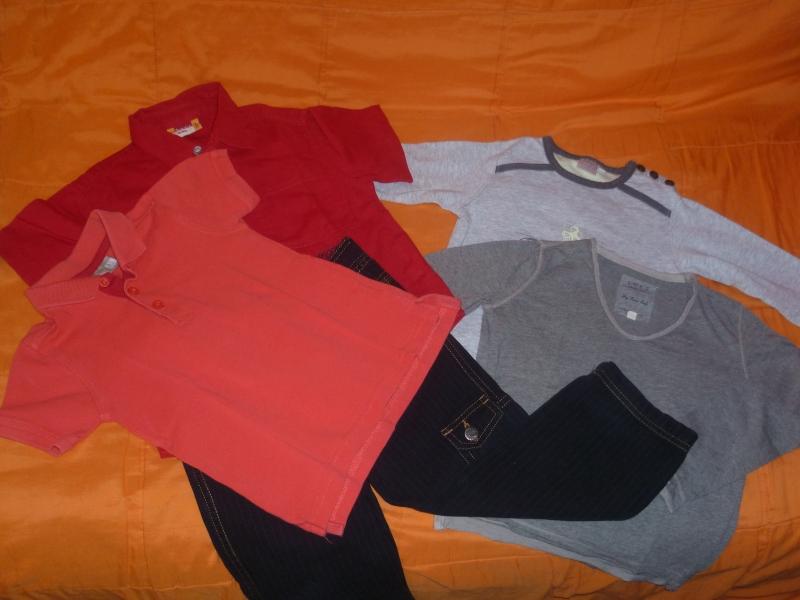 Un pantalon Sergent Major, un polo et une chemisette Du Pareil au même, un T-shirt ML Loft, un T-shirt ML Cadet Roussel
